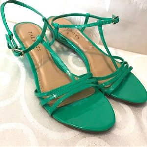 Talbots green patent leather wedge sandals
